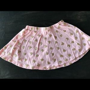 Skirt with gold glitter hearts and shorts attached
